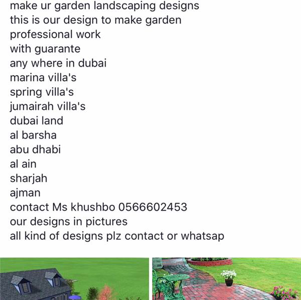 garden landscaping for ur villas and buildings any where in dubai
