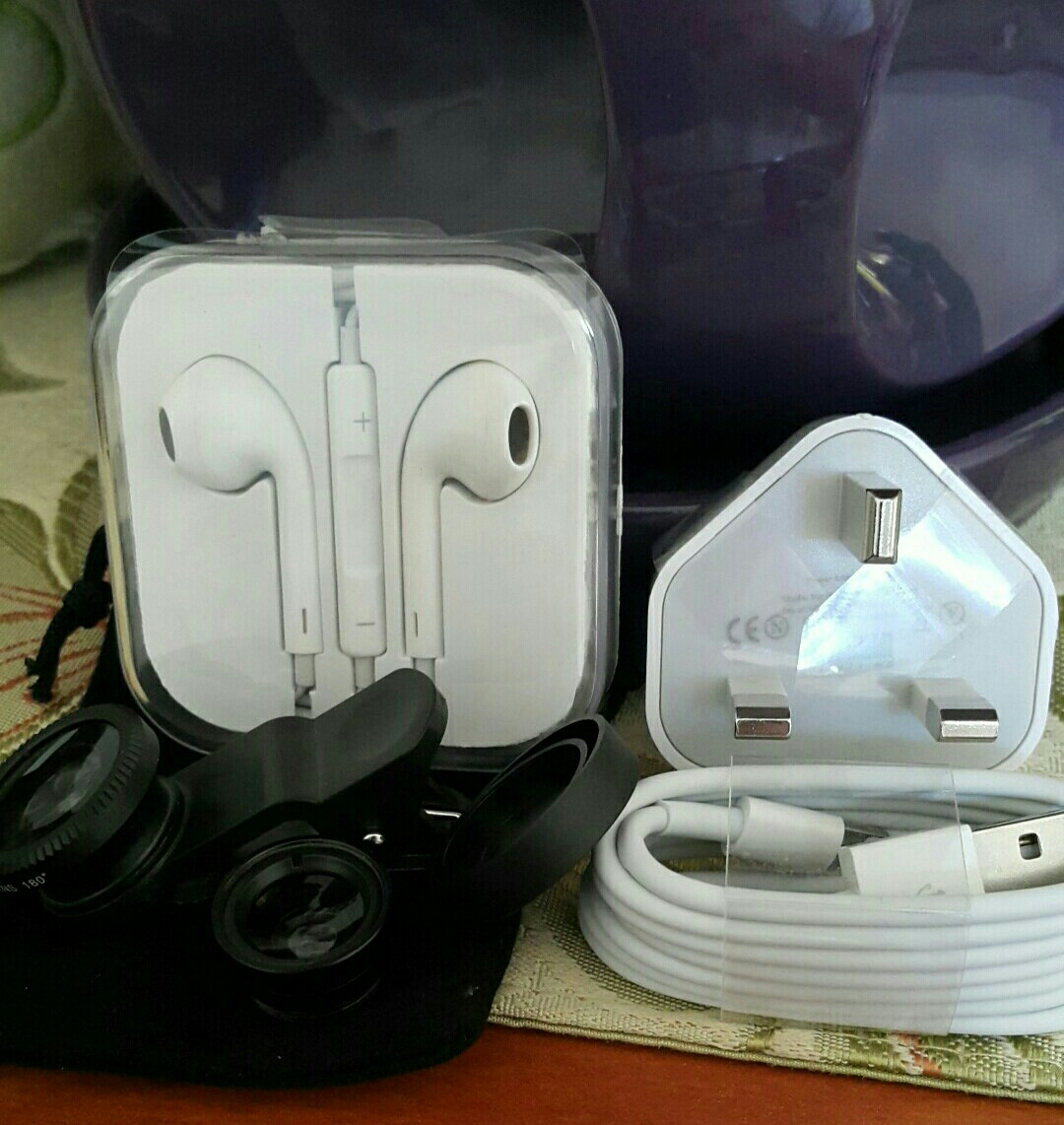3 in 1 Bundle- New Sets: Iphone Charger + Fish Eye & Micro Lenses + Earpods