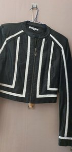 Used Black & white leather-like short jacket in Dubai, UAE