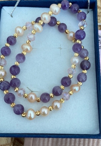 Used Bracelets 2 genuine amethyst and pearls in Dubai, UAE