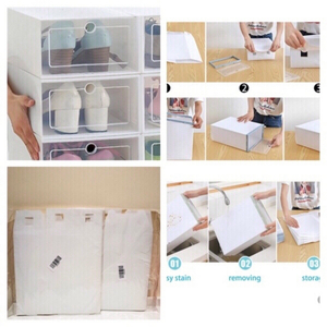 Used Shoe box foldable 3pcs white plastic  in Dubai, UAE