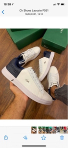 Used Lacoste size 44, white/ navy blue in Dubai, UAE