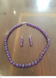 Used Pink amethyst silver necklace earing in Dubai, UAE