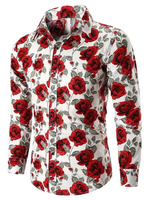 Used 2 Pcs-Men'S Allover Rose Print Casual in Dubai, UAE