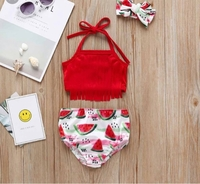 Used Baby Girl 3-pc Watermelon Print swimsuit in Dubai, UAE