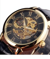 Used Black Gold Case Leather Mechanical watch in Dubai, UAE