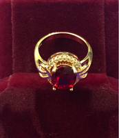 Used 18K Plated Ring with Ruby/ Zircon Stones in Dubai, UAE