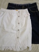 Used 2 denim skirts, size 10 in Dubai, UAE