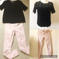 Used Zara Black Top + H&M Peach Jeans. Both Used But In Good Condition.  in Dubai, UAE