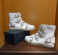 Riva - White Leather Boots