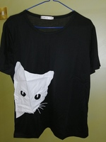 Used New Black T shirt CAT PRINT in Dubai, UAE