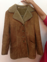 Oak leaf Sheep Ladies Leather Coat. Med