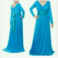 fabulous long dress blue color v-neck