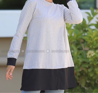 Used Gray, stripe, crew neck tunic in Dubai, UAE