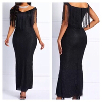 Used Shoulder off black tassel dress size XL in Dubai, UAE
