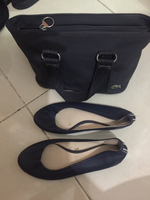 Used Original Lacoste bag and flat shoes navy in Dubai, UAE