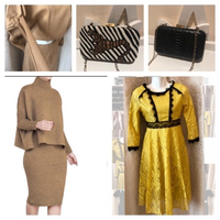 Used 2 Ladies dresses yellow/beige M + clutch in Dubai, UAE