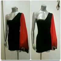 new Short dress with red long sleeve