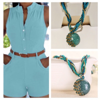 Jumpsuit 2XL & peacock glass bead chain