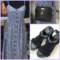 Used Dress/ Sandal/ Cross Body Bag in Dubai, UAE