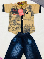 Used Kids printed shirt and half jeans combo  in Dubai, UAE