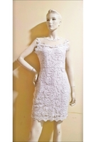 Used white elegant dress-Medium in Dubai, UAE