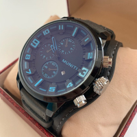 Men's leather watch blue NEW