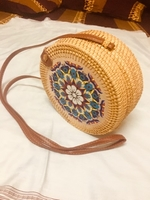 Used Rattan bag with flower pattern in Dubai, UAE
