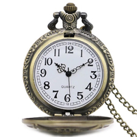 Bronze Quartz Pocket Watch Necklace