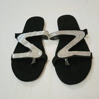 Used Black With Shinny Design Slippers Ladies in Dubai, UAE