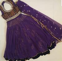 Gorgeous Indian outfit with long top net with velvet trim and printed skirt worn once #sizesmall