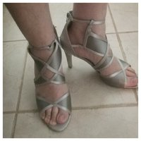 Used Brand new grey/silver heels size 41/42 in Dubai, UAE