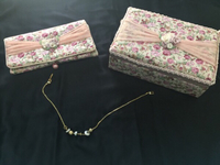 Used Floral Jewelry box with bag + Necklace  in Dubai, UAE