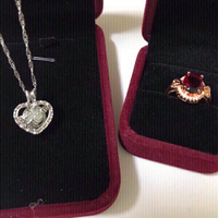 18k plated Ruby ring+Necklace blue