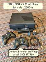 Used XBox 360 + 2 controllers for Sale in Dubai, UAE