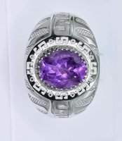 Used Natural Amethyst 925 Silver Ring in Dubai, UAE