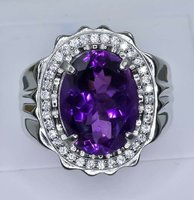 Used Lovely Natural Amethyst 925 Silver Ring in Dubai, UAE