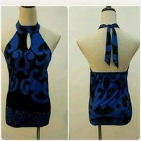 """Used Blue highneck top"""" free size stretchable in Dubai, UAE"""