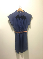 New Blue Dress with Brown Belt Size M