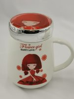 1pc Ceramic cup with top cover pretty