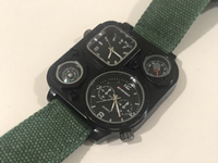 NEW Quartz Watch Multi Time Onyx Green