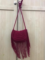 MAROON CHROCHET TASSEL BAG......