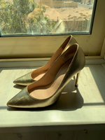 Used Used Zara gold heels size 39  in Dubai, UAE