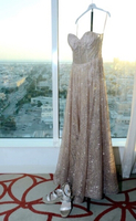 Used Fancy elegant dress for sale, rose gold in Dubai, UAE