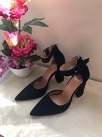 Used NEW Black Suede Peeps Heels Size 37 in Dubai, UAE