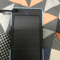 Solar Energy Power Bank With Flash Light Blue Color With 15000 MAh Power Capacity New
