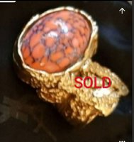 YSL Coral Cabochon Ring AUTHENTIC