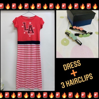 Used Long dress for girls and 3 hair-clips in Dubai, UAE