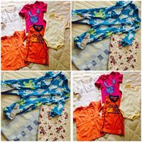 bundle of toddler's stuffs; 3 pcs mothercare shirts for 1 to 2 yrs old; 1 onesie for upto 6 months brand new;