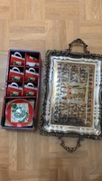 Used Antique tray and Christmas theme cupset in Dubai, UAE